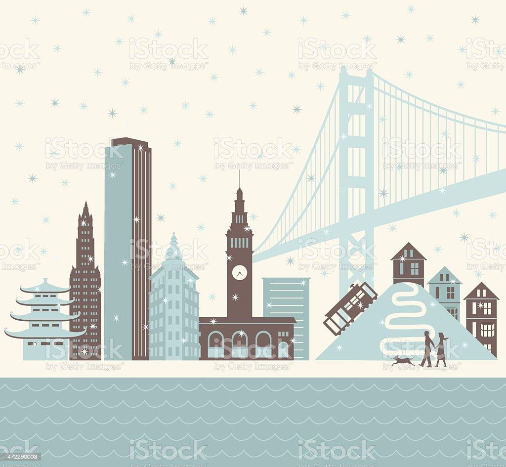 San Francisco Winter vector art illustration