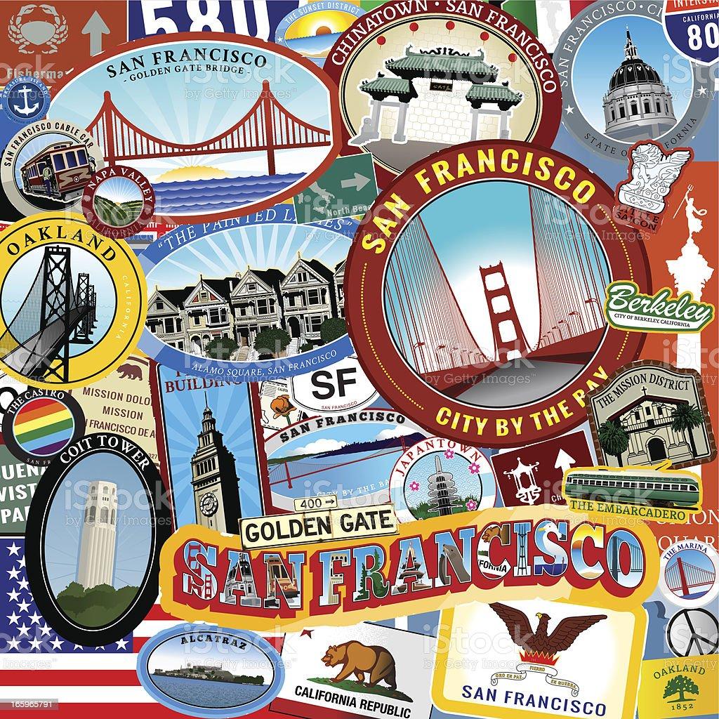 San Francsisco Ultra Collage royalty-free stock vector art