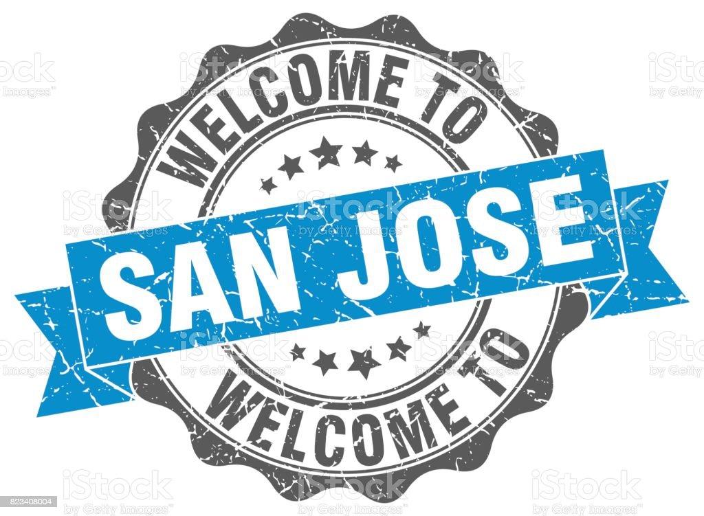 San Jose round ribbon seal vector art illustration