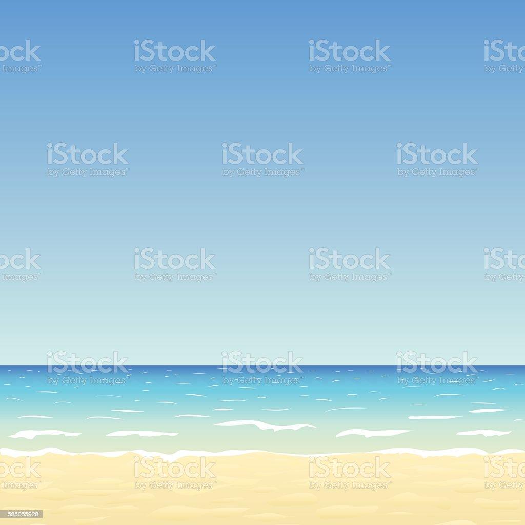 sand beach and blue sky vector art illustration