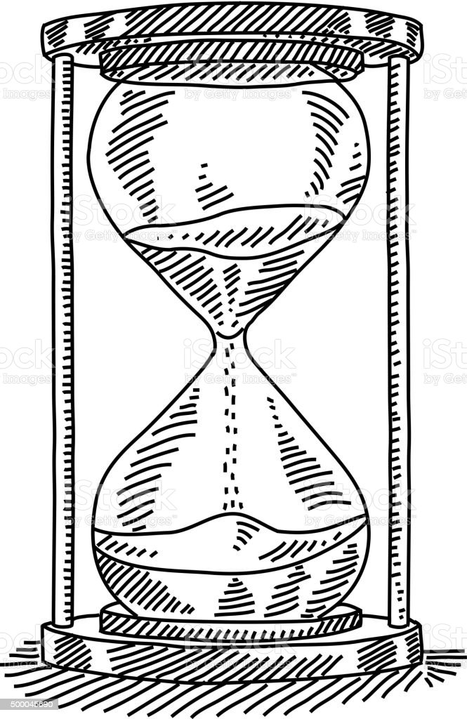 Sand Clock Drawing vector art illustration