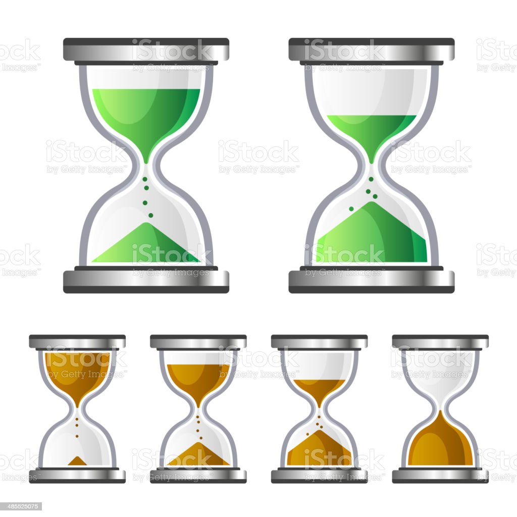 Sand Clock Glass Timer Icons on White Background. Vector royalty-free stock vector art