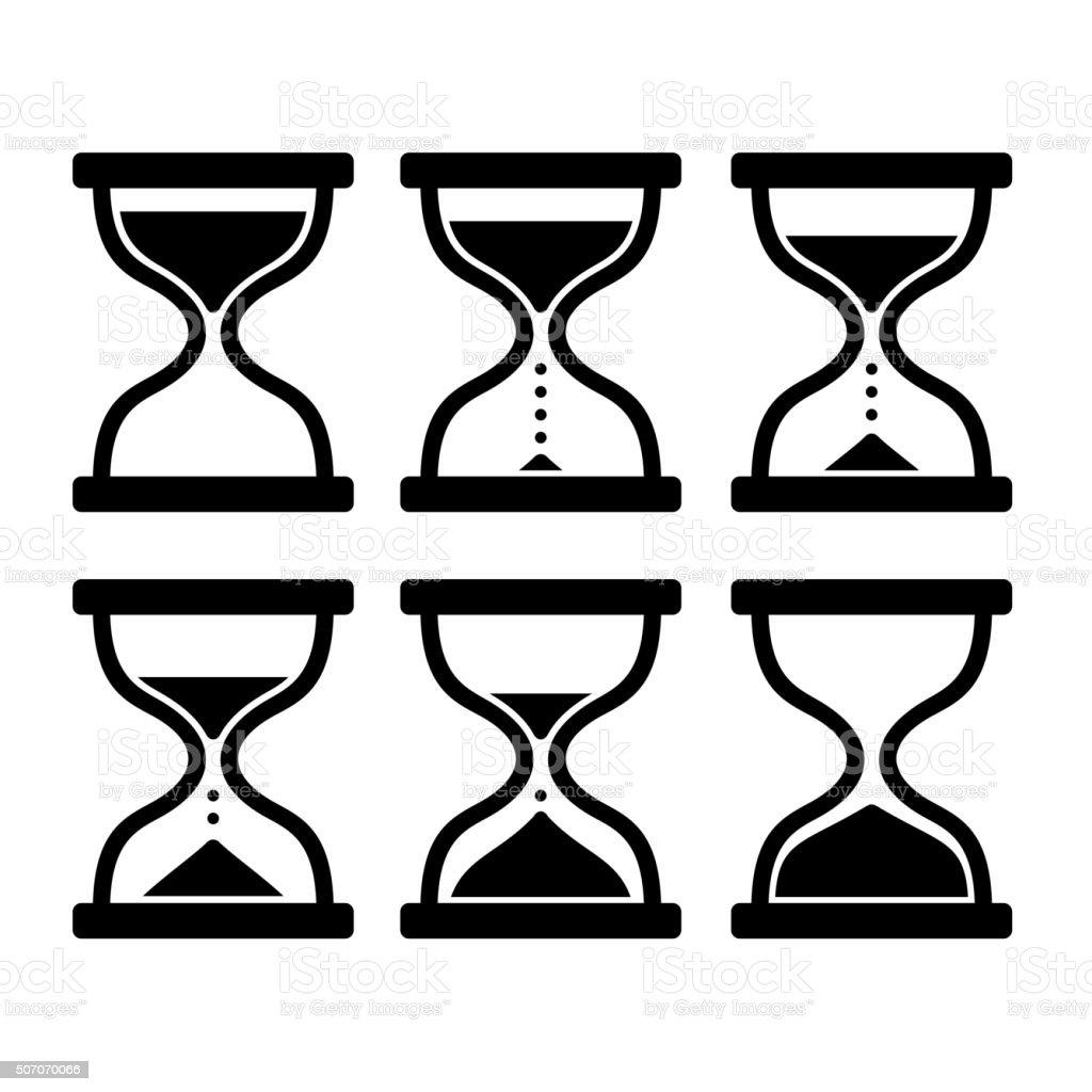 Sand Clock Set. Glass Timer on White Background. Vector vector art illustration