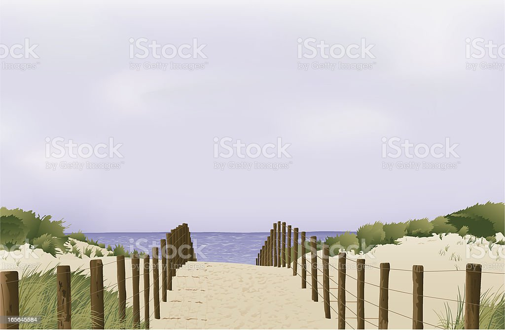 sand dunes in Holland royalty-free stock vector art