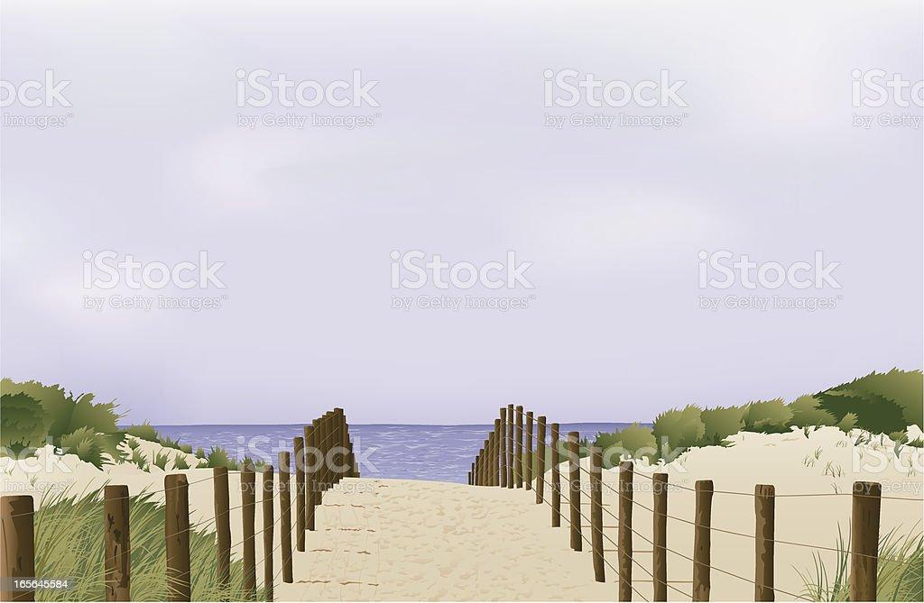 sand dunes in Holland vector art illustration
