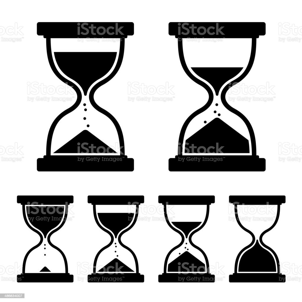 Sand Glass Clock Icons Set. Vector vector art illustration