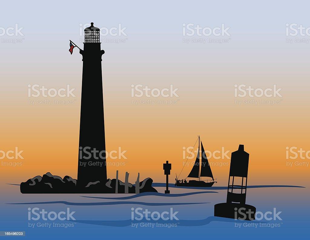 Sand Island Lighthouse royalty-free stock vector art