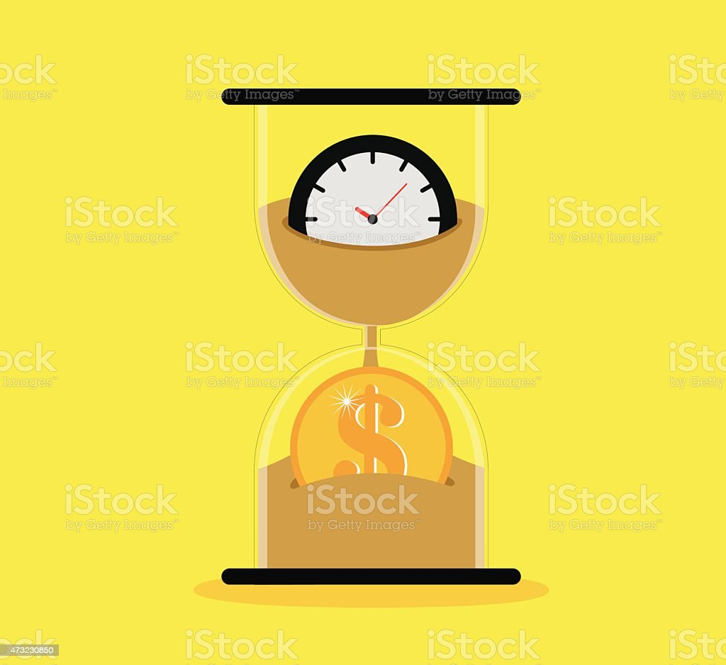 A sand timer icon depicting time is money vector art illustration