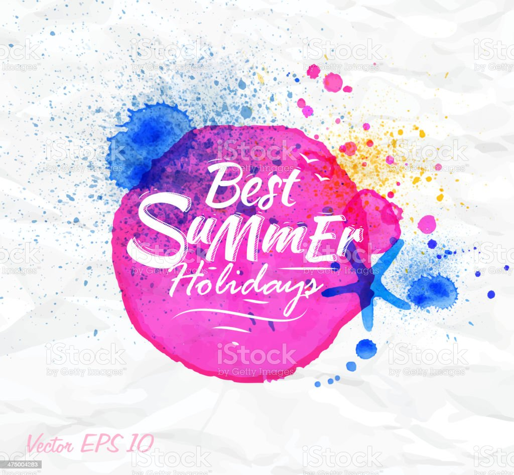 Sand watercolor spot with lettering Best summer holidays vector art illustration