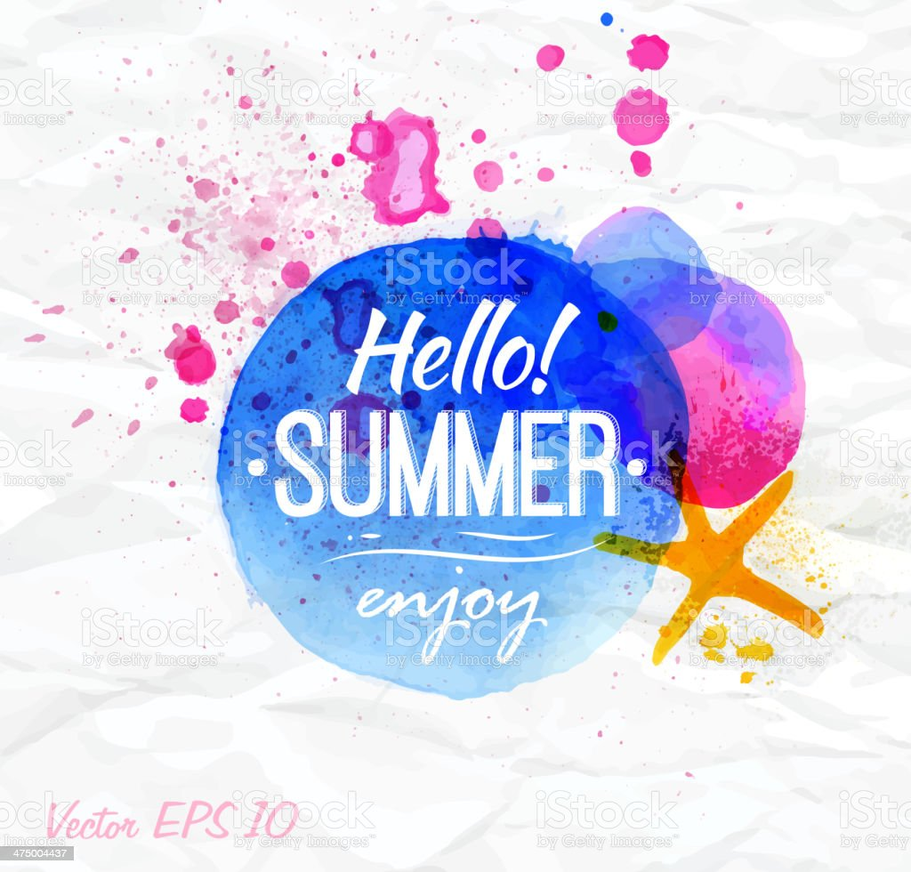 Sand watercolor spot with lettering Hello. vector art illustration