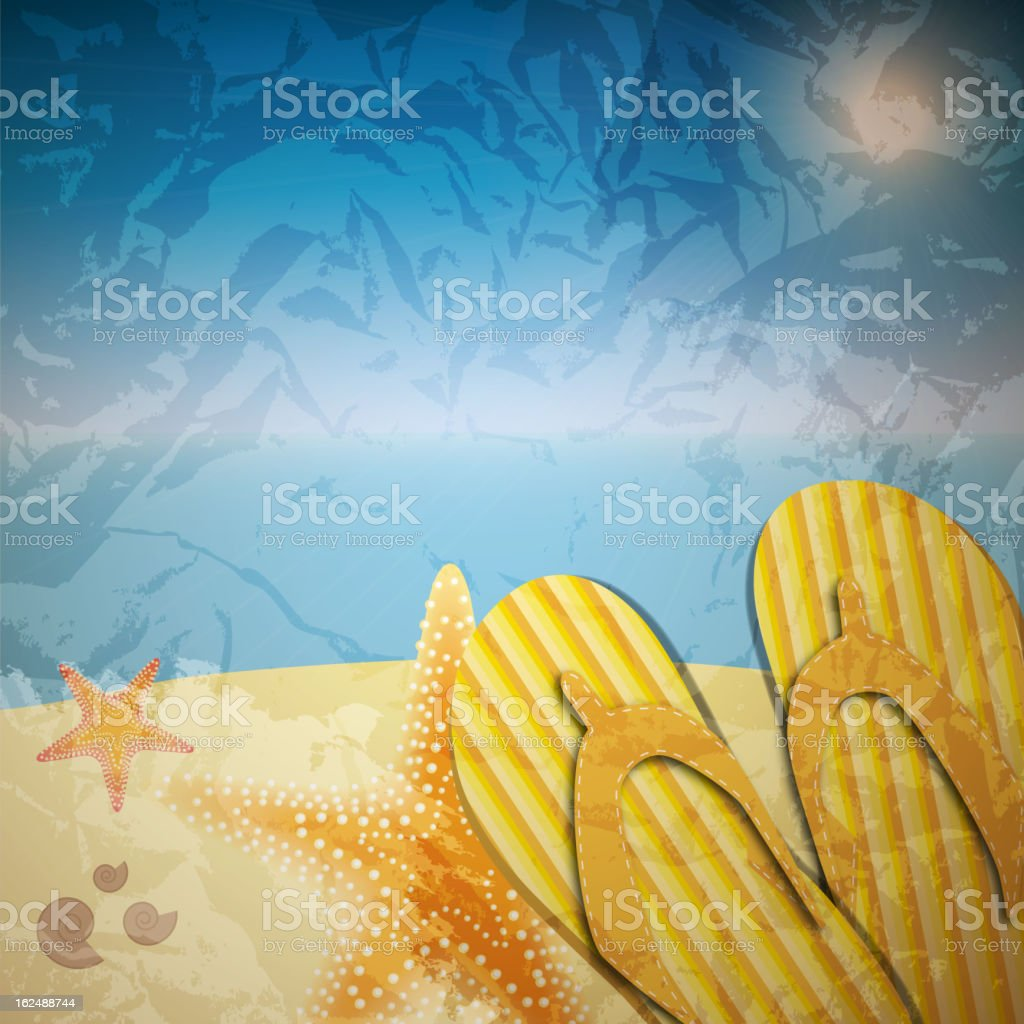 sandals and starfish at beach nature summer vector background royalty-free stock vector art