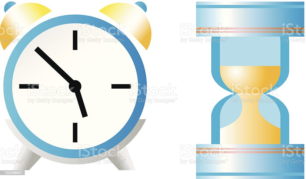 Sand-glass and clock royalty-free stock vector art