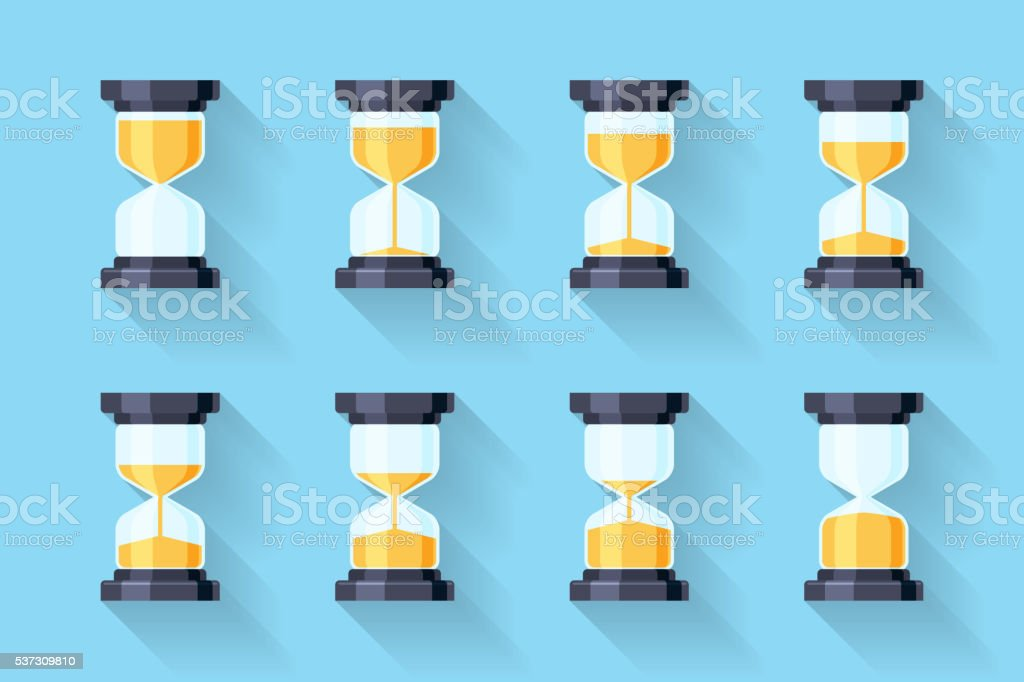 Sandglass flat icons vector. Animation frames vector art illustration