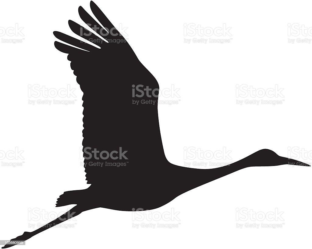 Sandhill Crane in Flight Silhouette royalty-free stock vector art