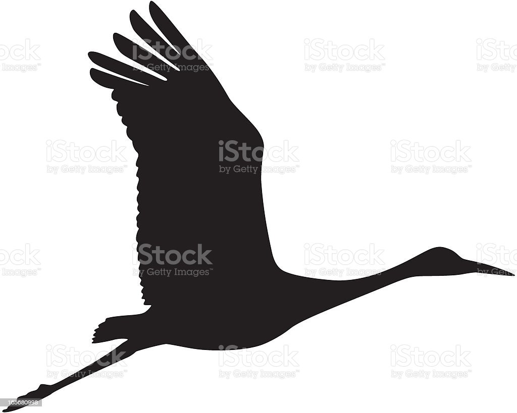 Sandhill Crane in Flight Silhouette vector art illustration