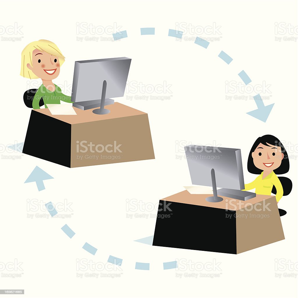 Sandra and Sally are connected! royalty-free stock vector art