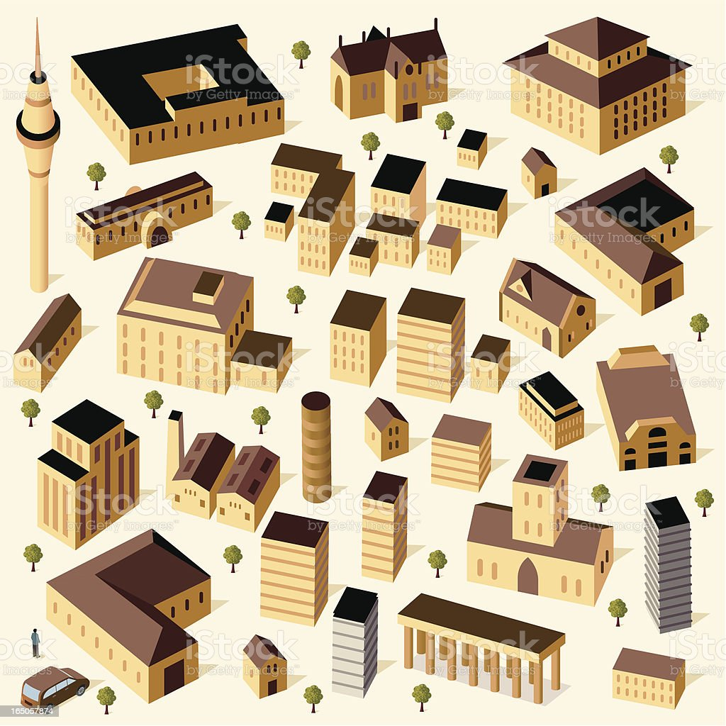 Sandstone Buildings and Car royalty-free stock vector art