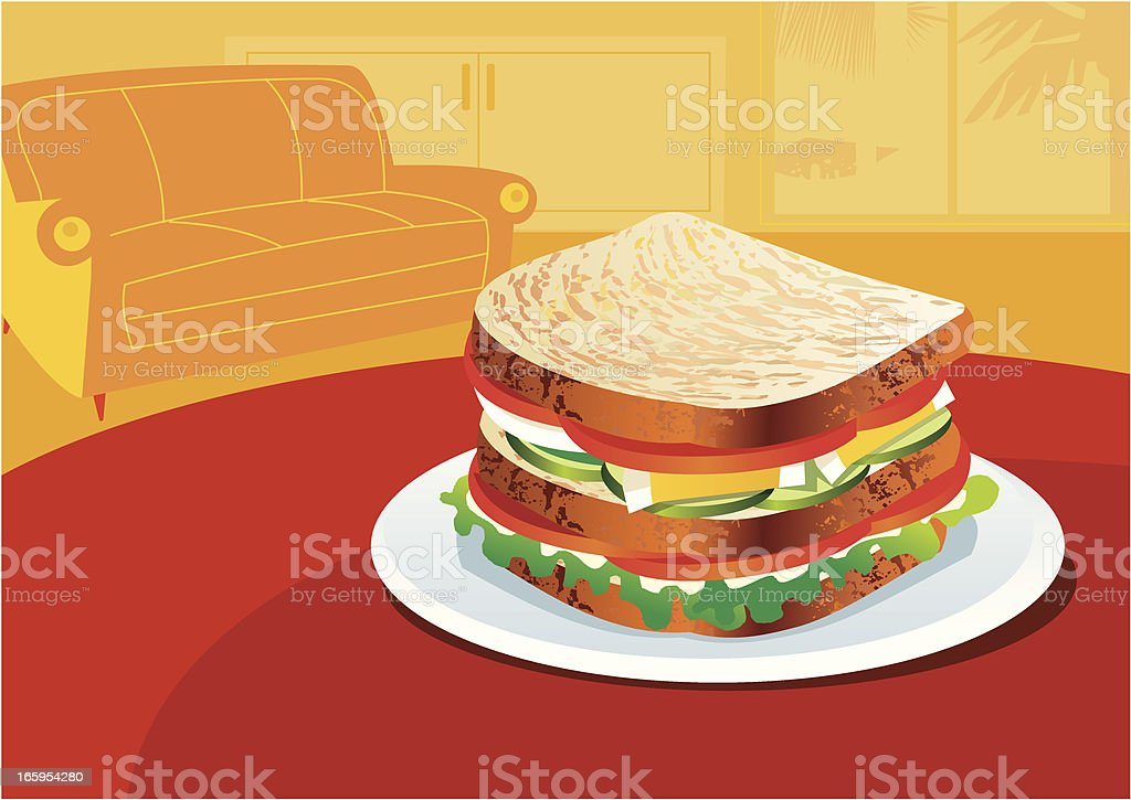 Sandwich at home! vector art illustration