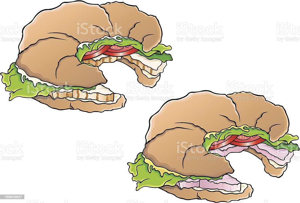 Croissant sandwich vector art illustration