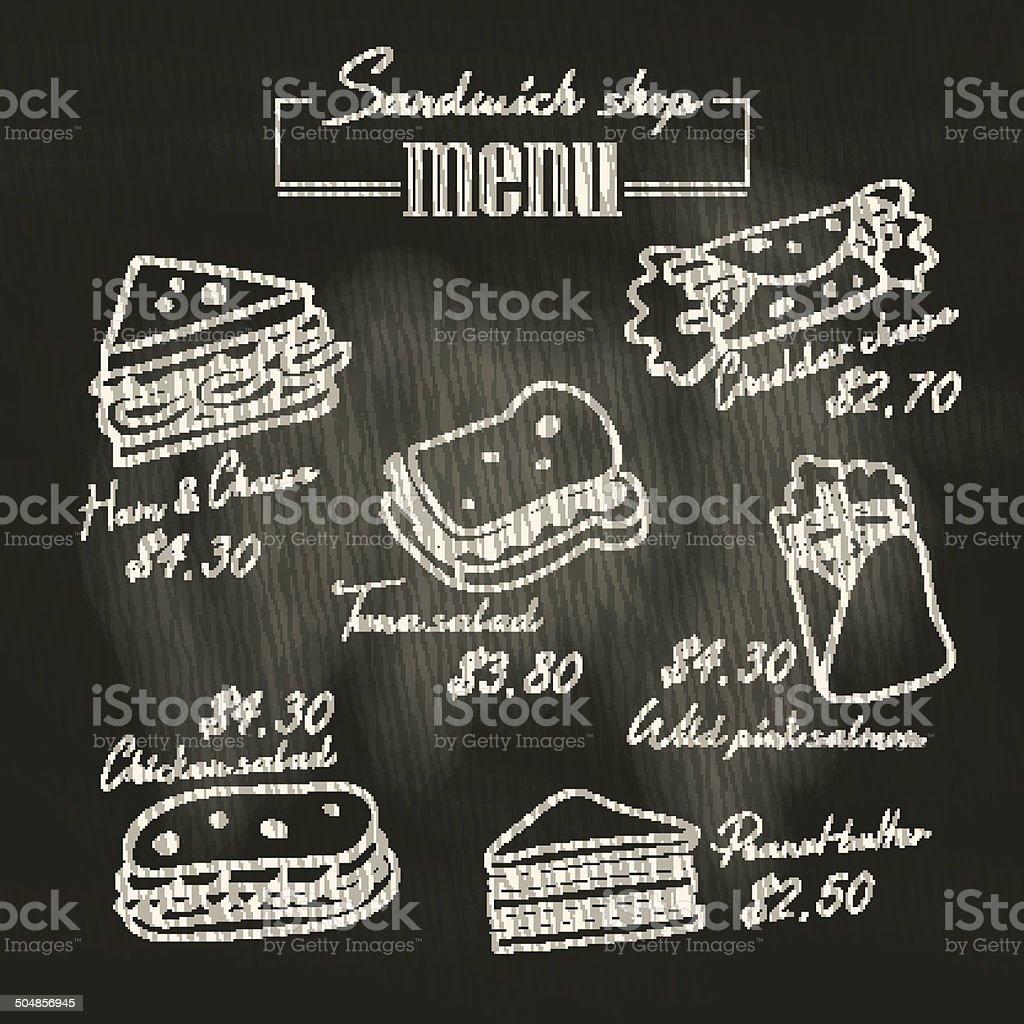 Sandwich doodle menu drawing on chalk board background vector art illustration