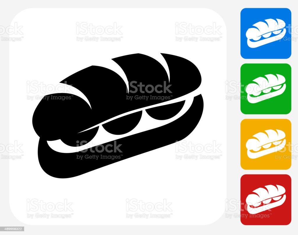Sandwich Icon Flat Graphic Design vector art illustration