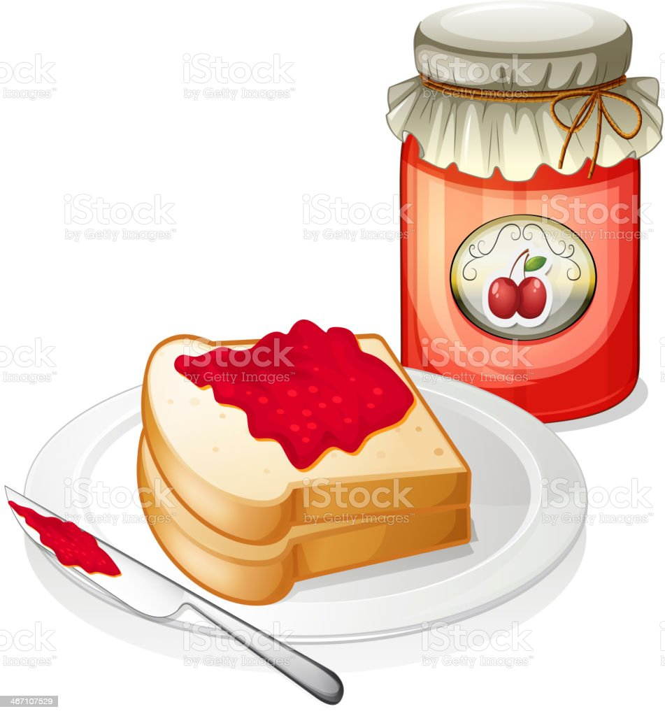Sandwich inside the plate with a cherry jam royalty-free stock vector art
