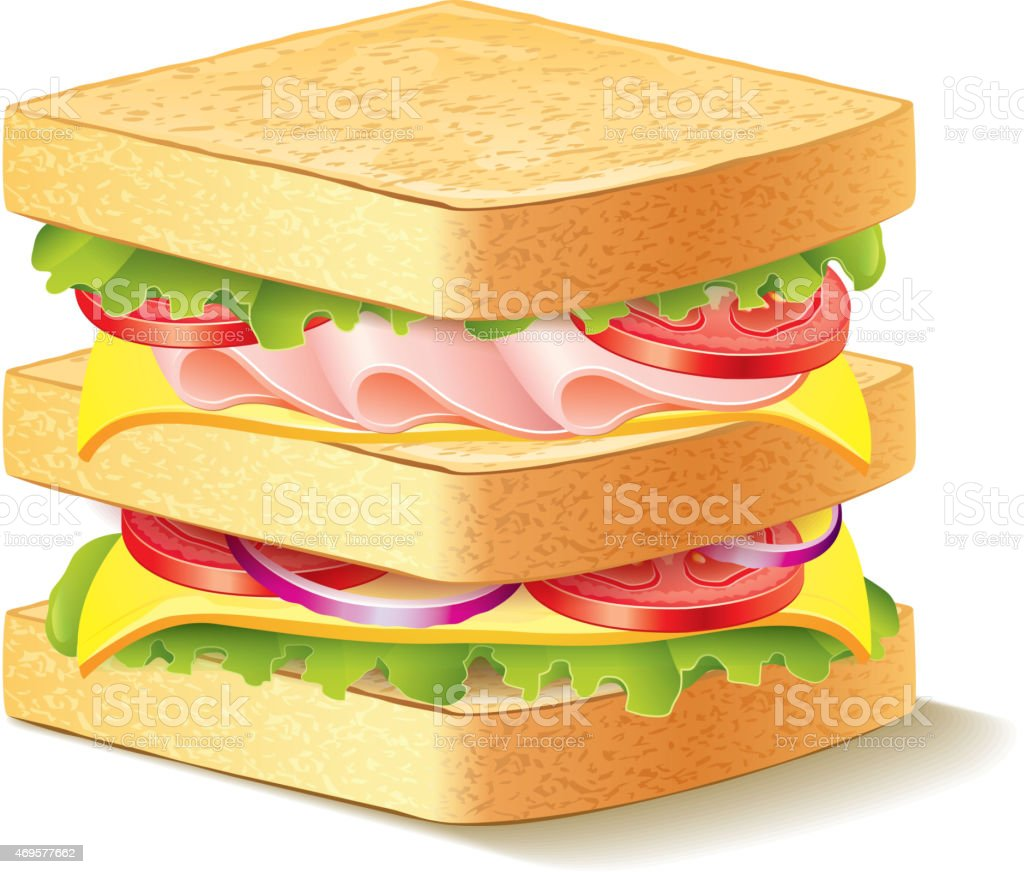 Sandwich isolated on white vector vector art illustration