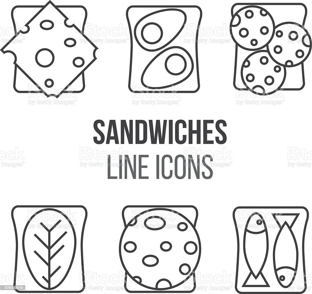 Sandwich line style icons set vector art illustration