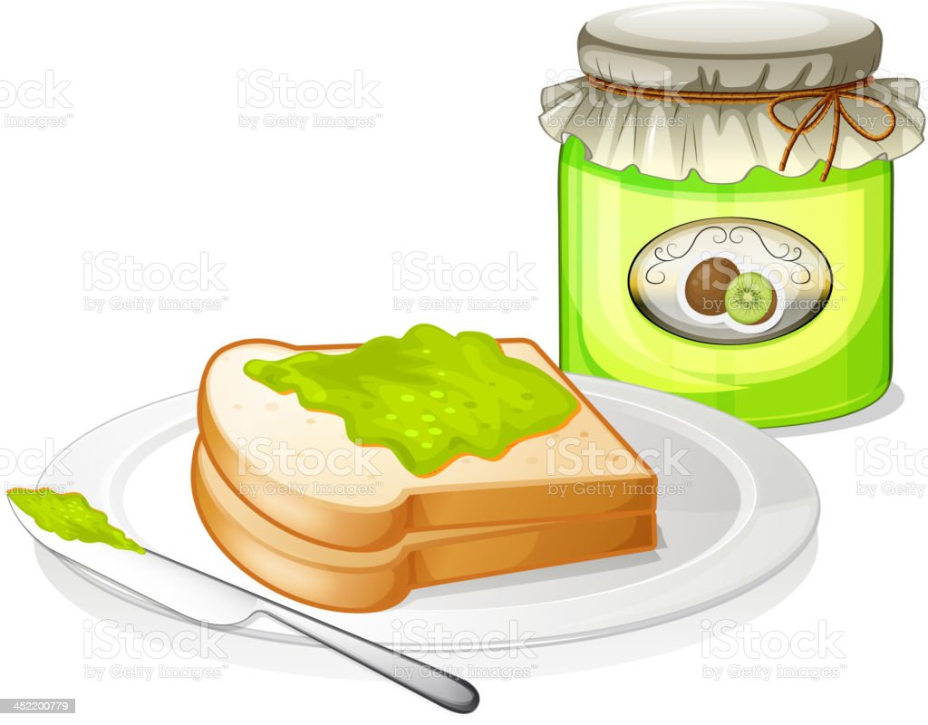 Sandwich with a jam royalty-free stock vector art