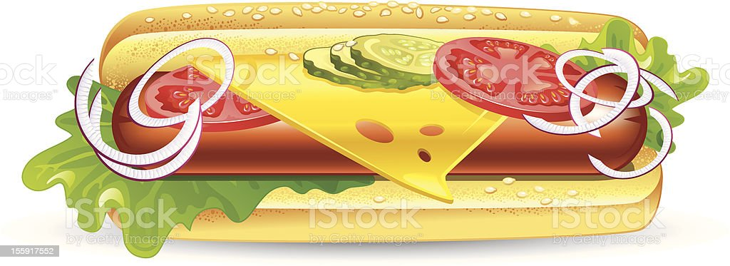 Sandwich with sausage, cheese, and vegetables vector art illustration