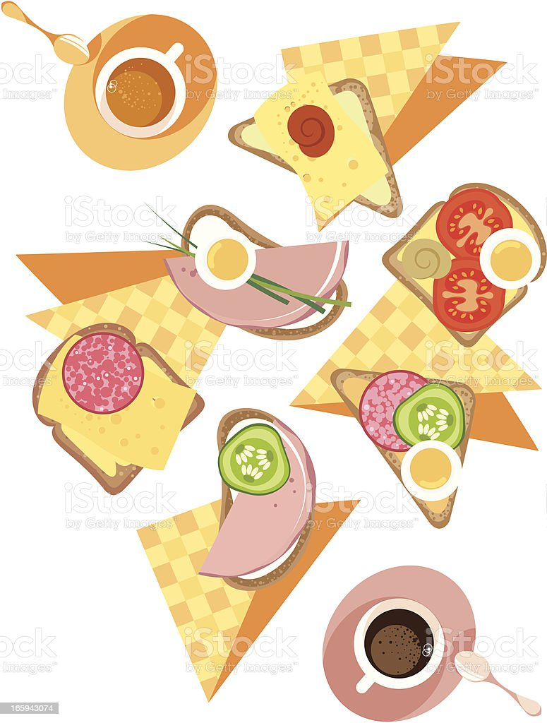 Sandwiches and coffee. vector art illustration