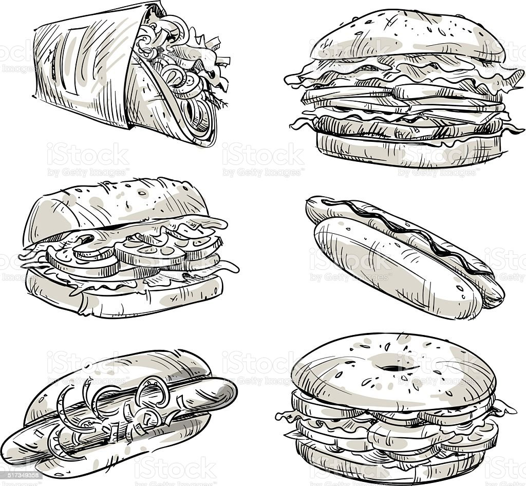 Sandwiches. Fast food. Snacks. Vector sketch. vector art illustration