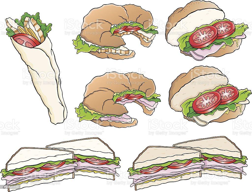 Sandwiches variety vector art illustration
