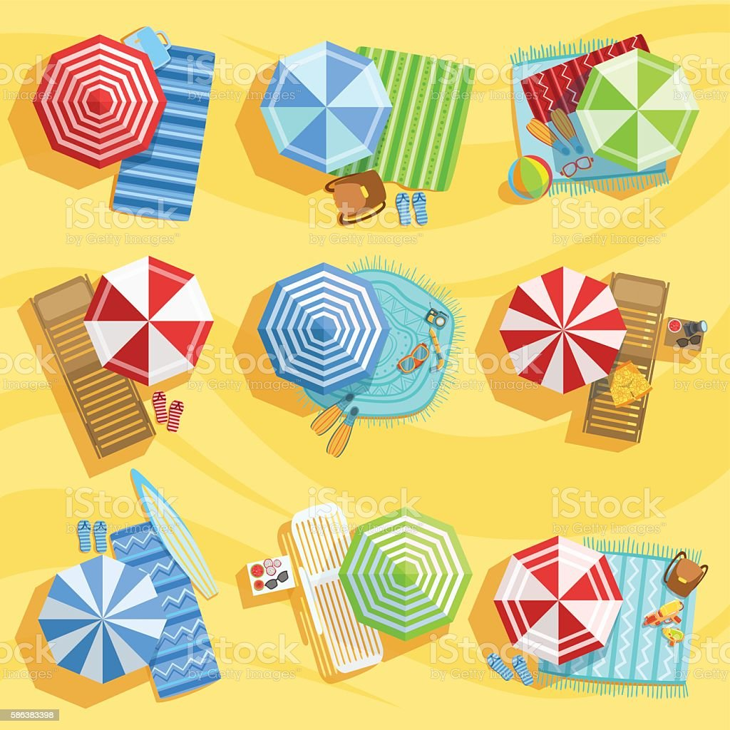 Sandy Beach From Above With Umbrellas And Sunbeds vector art illustration