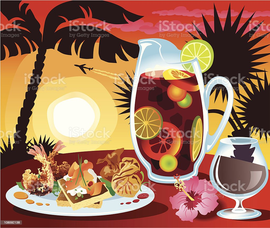 Sangria and Tapas vector art illustration
