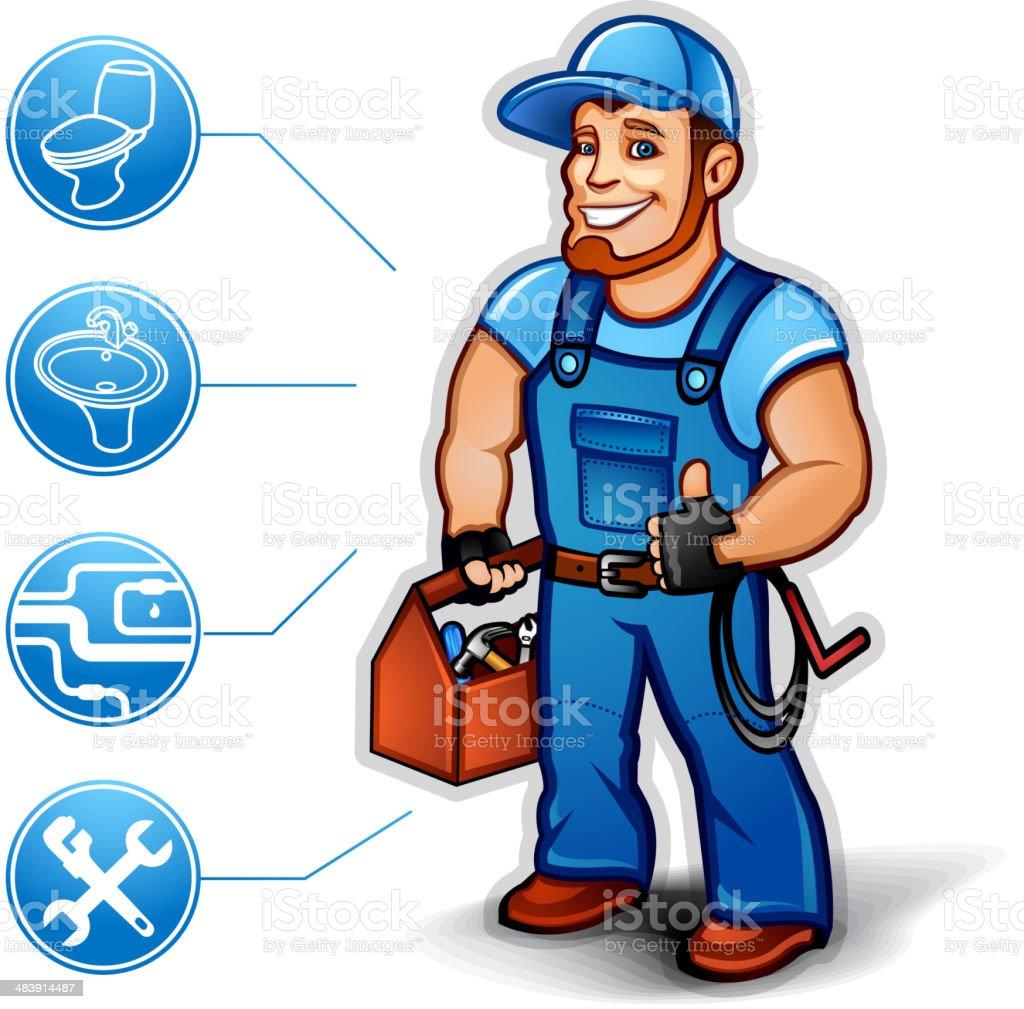 Sanitary Technician thumb up vector art illustration