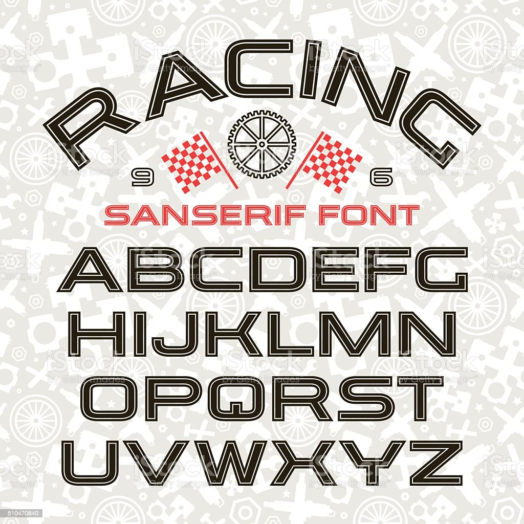 Sanserif font in retro racing style vector art illustration
