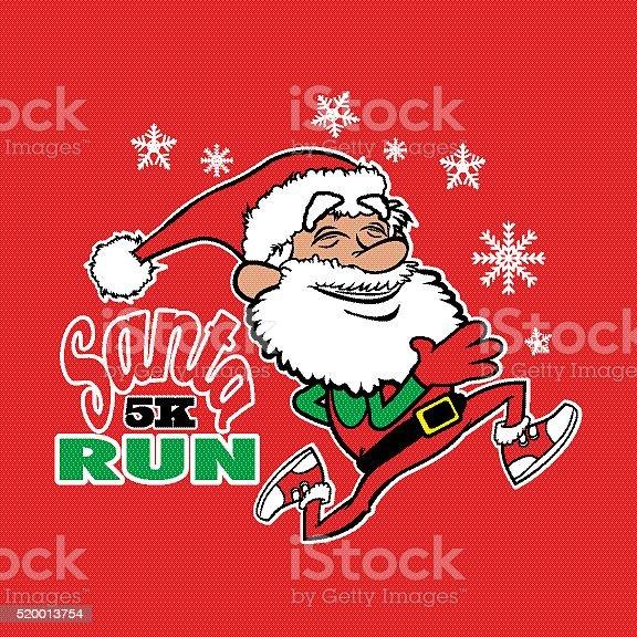 Santa 5K Run vector art illustration