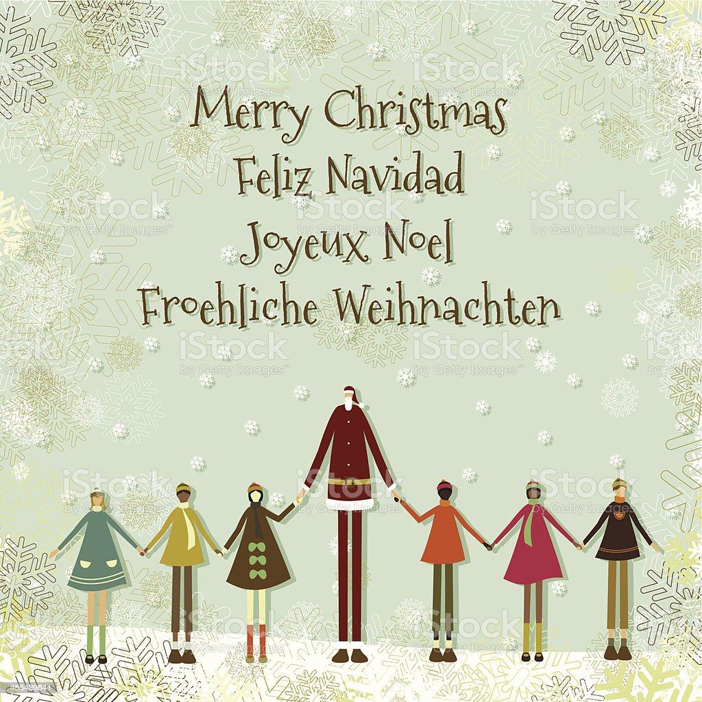 Santa and children christmas card royalty-free stock vector art