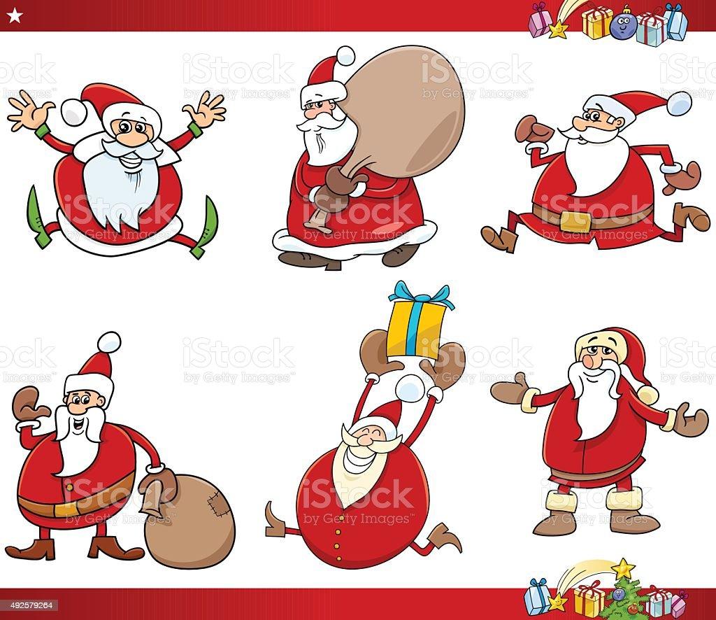 santa and christmas cartoon set vector art illustration