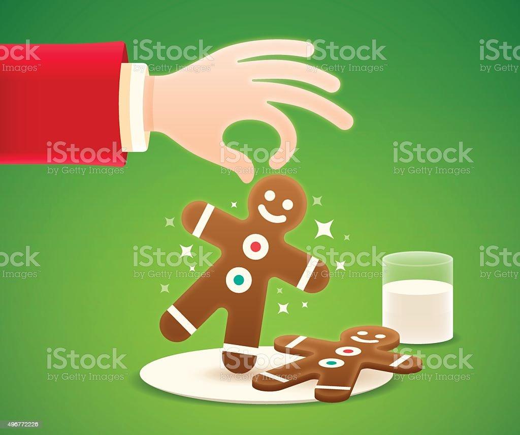 Santa and Christmas Gingerbread Cookies vector art illustration