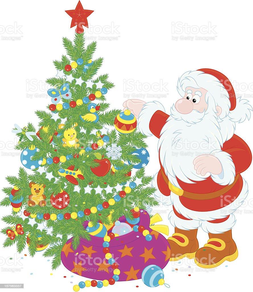Santa and Christmas tree royalty-free stock vector art