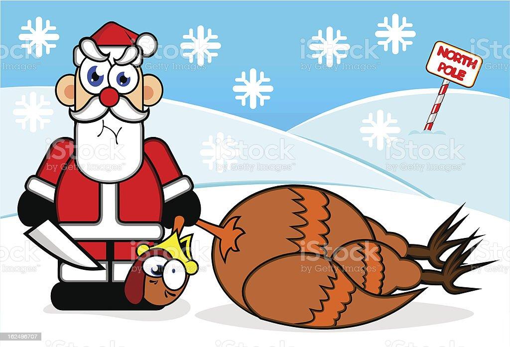 Santa and dead turkey royalty-free stock vector art