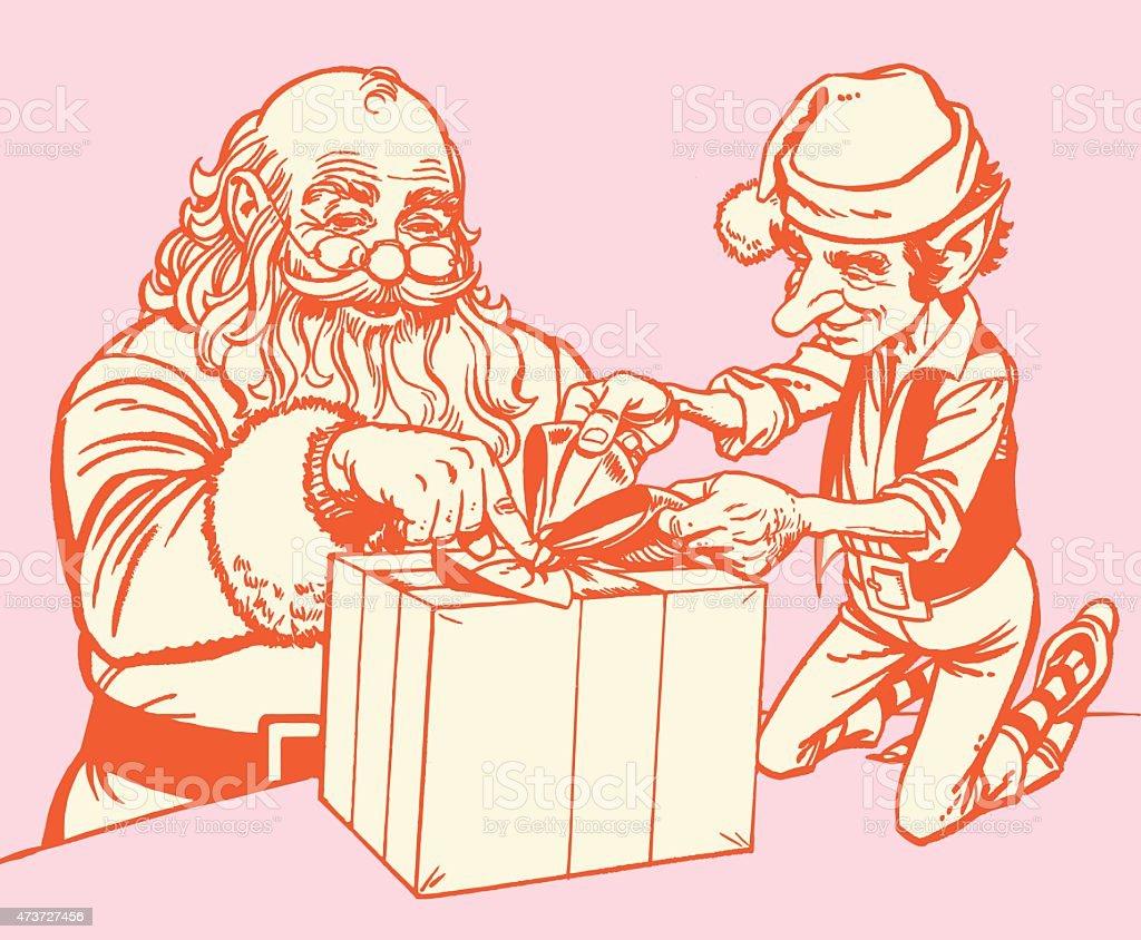Santa and Elf vector art illustration