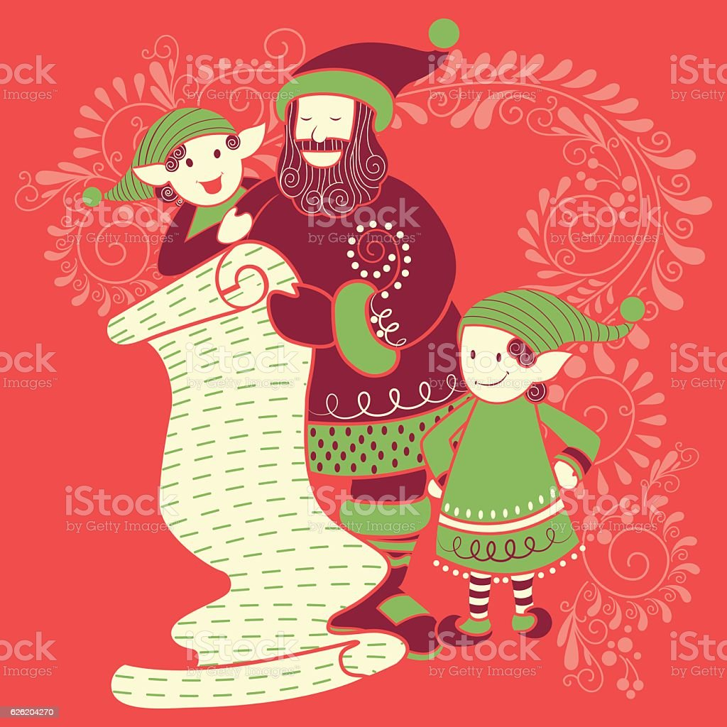 Santa and Elf with gift in Merry Christmas Holiday celebration vector art illustration