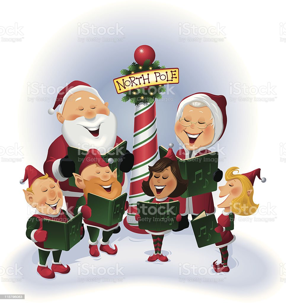 Santa and Elves caroling vector art illustration