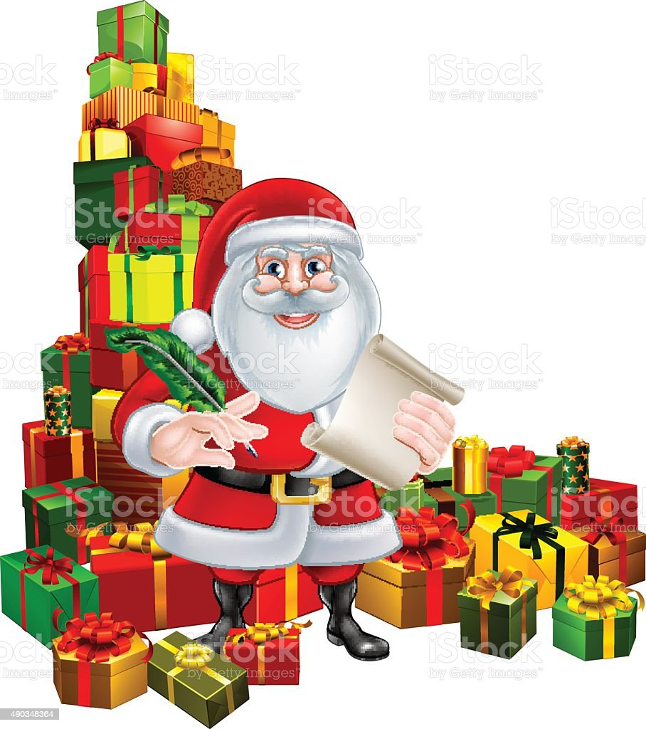 Santa and Gifts List vector art illustration