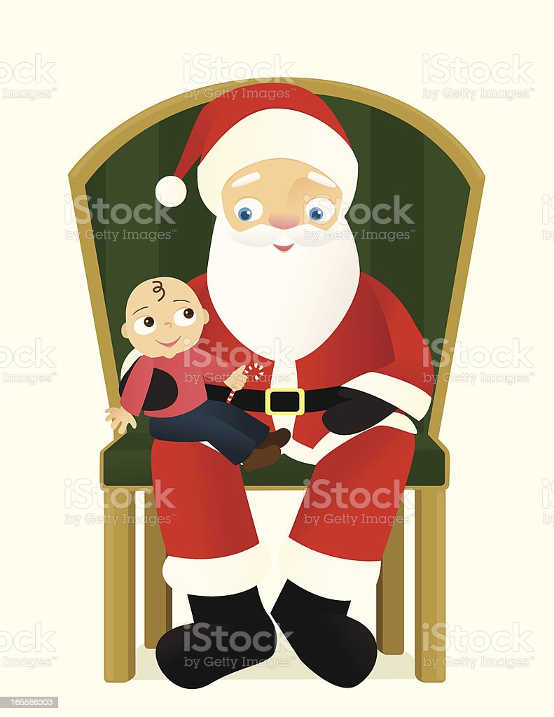 Santa and Happy Baby vector art illustration