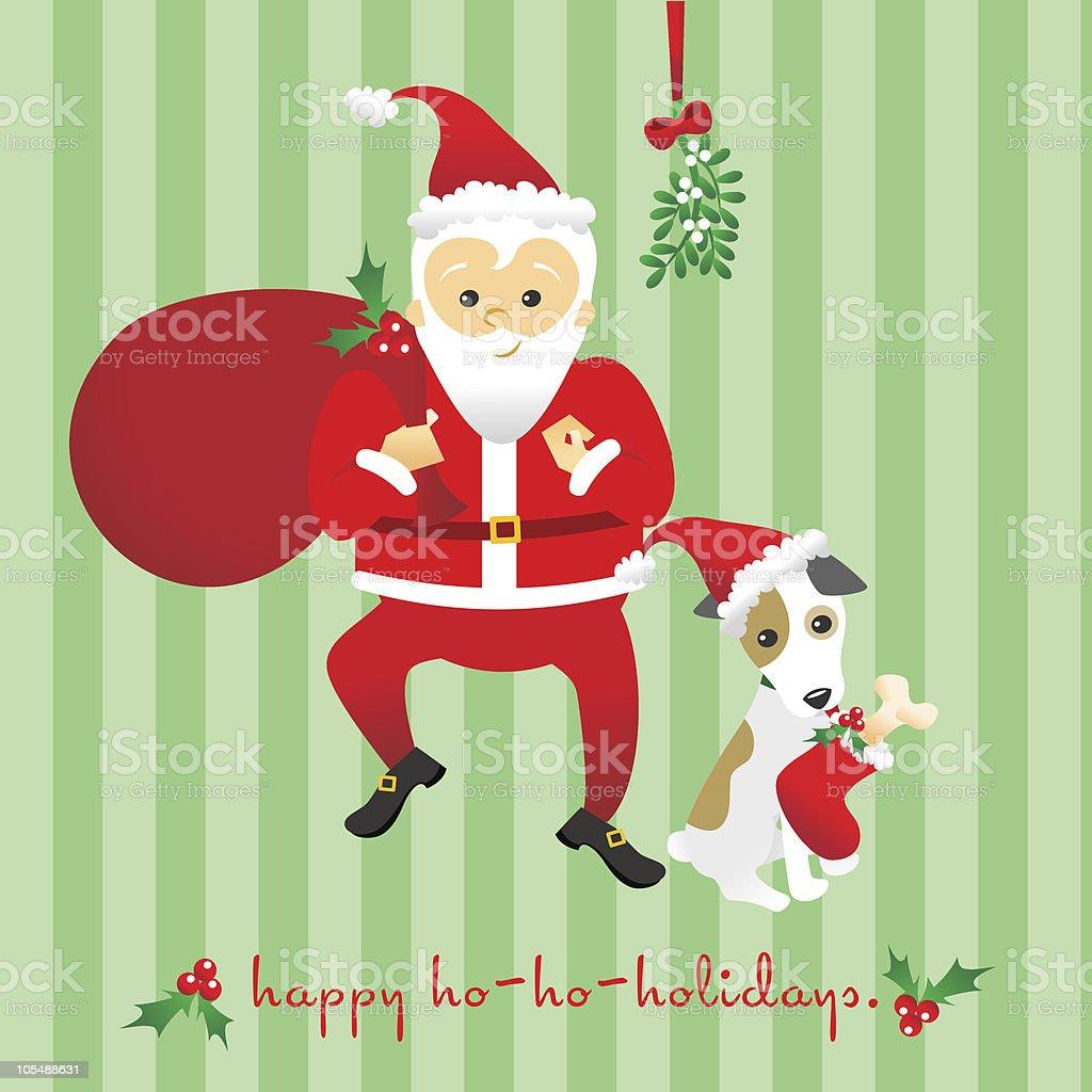 Santa and his dog vector art illustration