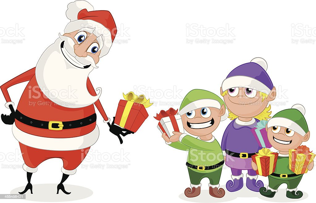 Santa and his Elves exchanging Christmas Gifts vector art illustration